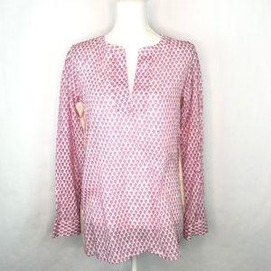 J. Crew Women's Tall Floral Block-Print Pink Tunic